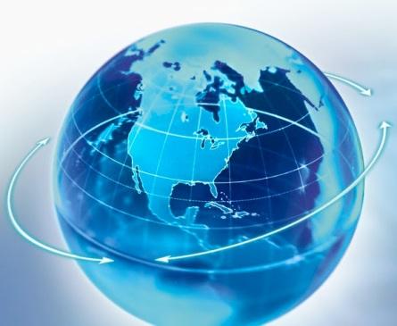 Directional Arrows Around Globe --- Image by © William Whitehurst/Corbis